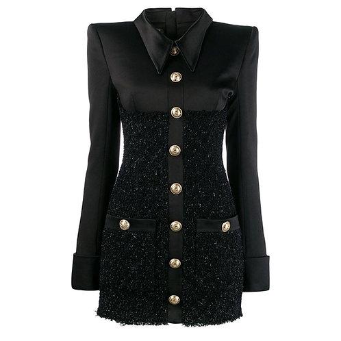 Model 2021 veste robe pour femme bouton satin
