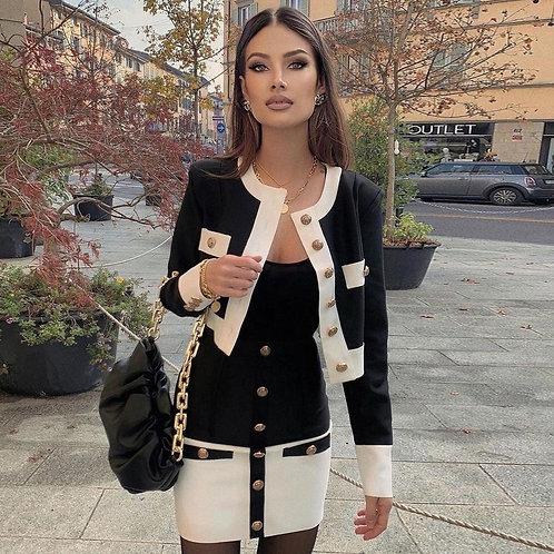 Nouveau 2021, ensemble deux pièces veste à manches longues et mini jupe