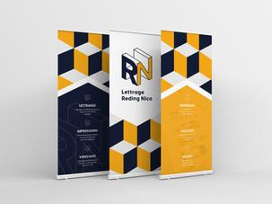 Brand identity for Lettrage Reding Nico. Roll-up design