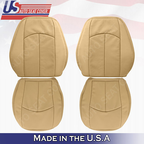 For 2007-2009 Mercedes-Benz E350 2xTops 2xBottoms Perf. Leather Cover Drk Tan