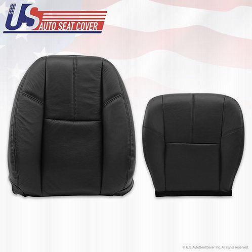 2007 to 2012 Chevy Avalanche Driver Bottom & Top Back Leather Seat Covers Black