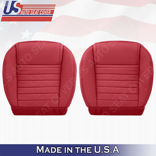 DRIVER PASSENGER Bottom Red Leather Upholstery Covers 2005 to 2009 Ford Mustang