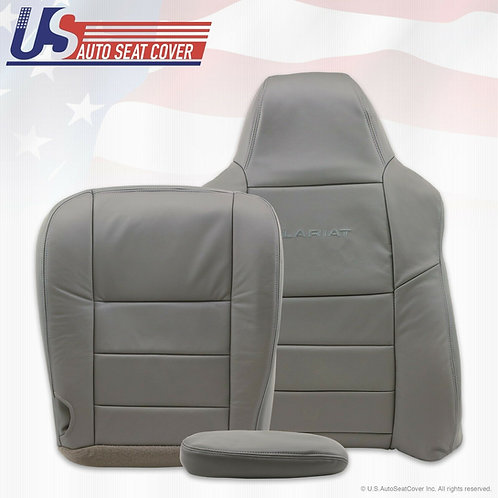 2002 - 07 Ford F-250 350 Driver Bottom/Lean Back/Armres Leather Seat Covers Gray