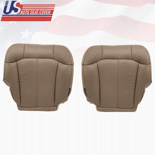 1999-2002 Chevy Driver & Passenger Bottom Leather Seat Covers in Neutral Tan