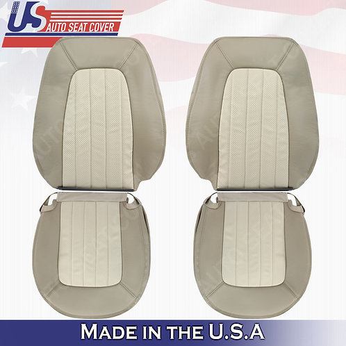 2002 TO 2005 MERCURY MOUNTAINEER FRONT SET PERFORATED LEATHER COVER 2-TONE TAN