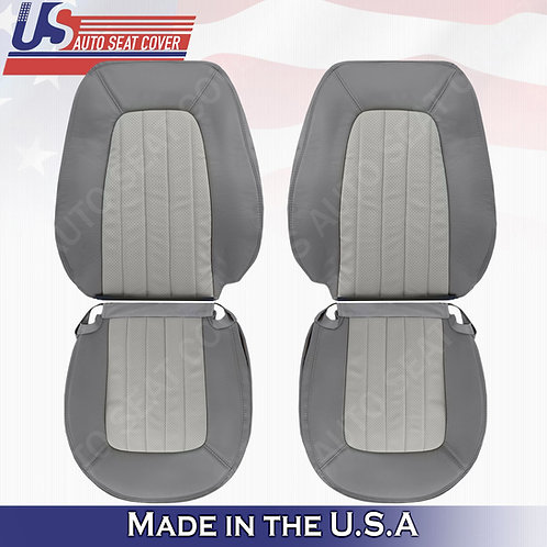 2002-2005 Mercury Mountaineer FRONT SET PERFORATED Leather Seat cover 2tone gray