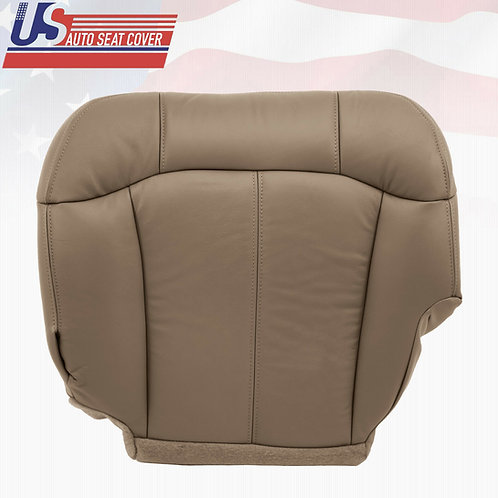 1999-2002 Chevy Silverado driver bottom leather seat cover Med Neutral Tan