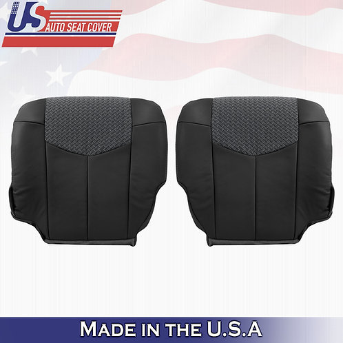 2002 Chevy Avalanche DRIVER PASSENGER BotTom Leather w Cloth BLACK seat cover