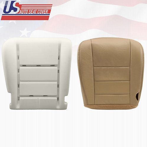 02-07 Ford F250,350,450 Driver Bottom Vinyl Seat Cover & Cushion Parchment TAN