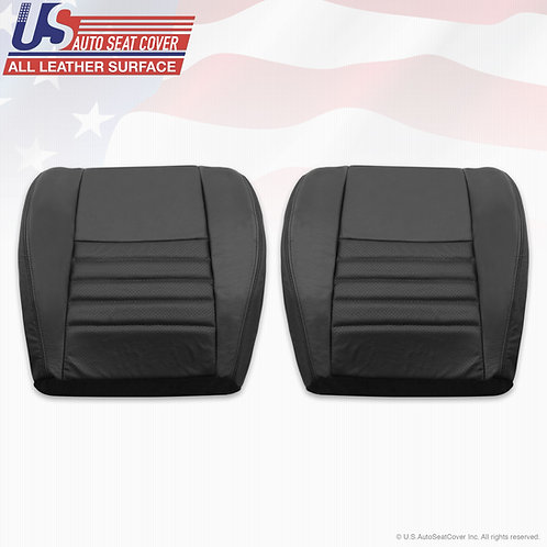 1998-2004 Ford Mustang Driver Passenger Bottom Perf. Leather Seat Cover Black