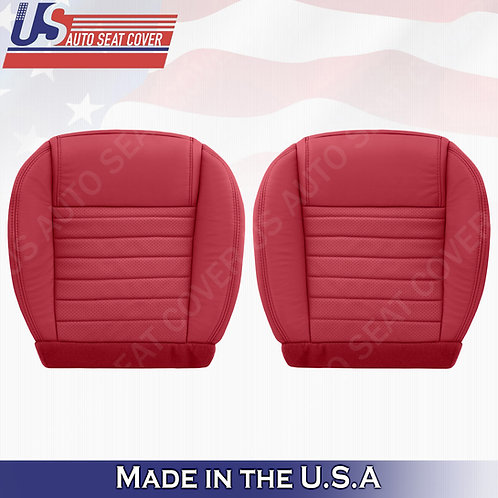2005-09 Ford Mustang Driver & Passenger Bottom Leather Seat Covers in Red