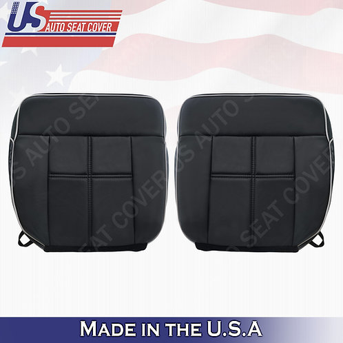 2006-2008 Lincoln Mark LT Driver & Passenger Bottom Leather Seat Covers in Black