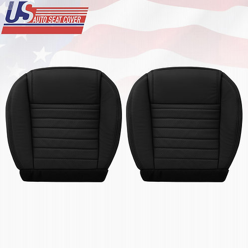 2005-2009 Ford Mustang Driver & Passenger Bottom Leather Seat Covers in Black