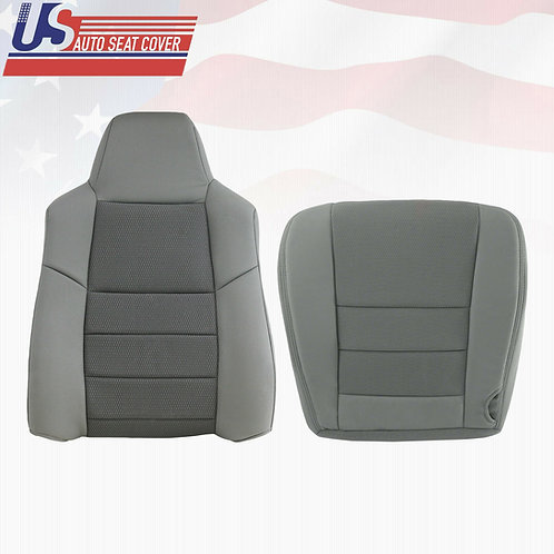 2003 2004 2005 Ford F250 F350 Driver Top & Bottom Cloth Seat Cover Med Flint Gry