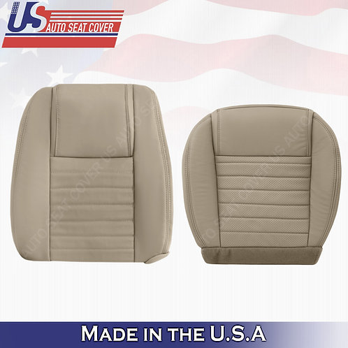 2005-09 Ford Mustang Driver Top and Bottom Leather Seat Covers Tan (PERFORATED)