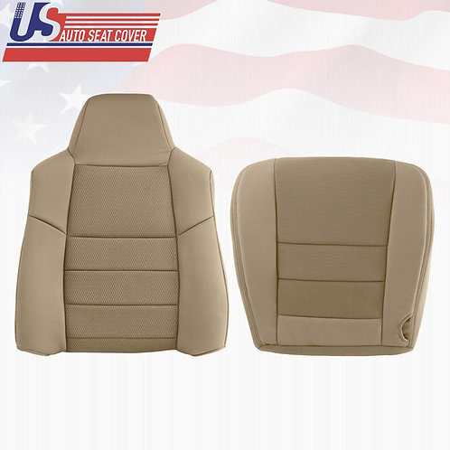 2003- 2007 Ford F250 F350 Top & Bottom Cloth Seat Cover Pebble Tan