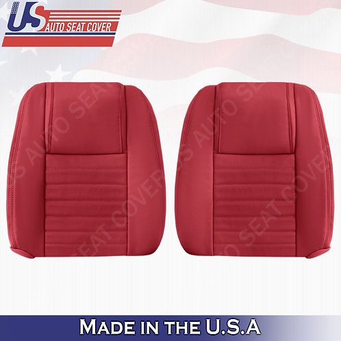 2005-09 Ford Mustang Driver & Passenger Leather Lean Back Seat Covers in Red
