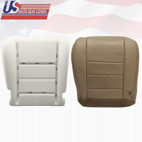 2002-2007 07 Ford F250 Lariat Driver Bottom Leather Perforated Seat Cover + Foam