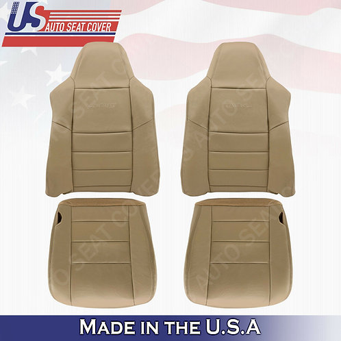 2002-07 Ford F250 F350 Lariat Front & Back Bottoms & Tops Leather Seat Cover TAN