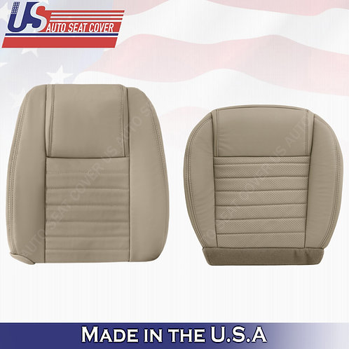 2005-2009 Ford Mustang Passenger Top and Bottom Leather Seat Covers Tan