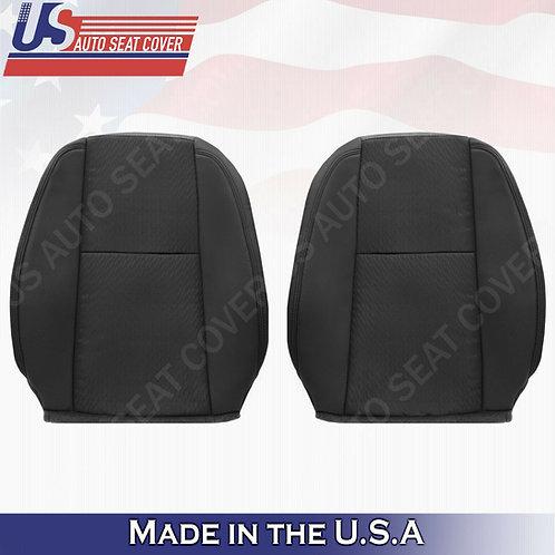 2009-2014 Chevy Silverado Driver & Passenger Top Cloth Seat Cover Ebony Black