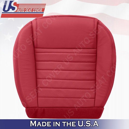 2005-2009 Ford Mustang Passenger Bottom Leather Seat Cover in Red (PERFORATED)
