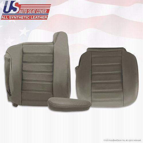 2003-2007 Hummer H2 Top/Bottom/Armrest Leather Seat Cover Gray