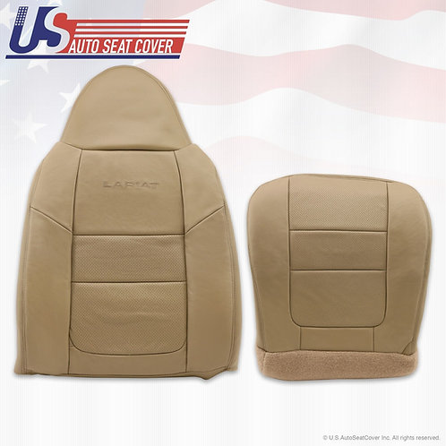 2001 Ford F250 Lariat Bottom & Top Perforated Leather Seat Covers Parchment tan