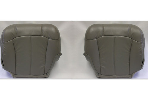 2001 2002 Chevy Silverado Driver and Passenger Bottom Leather Seat Covers Gray