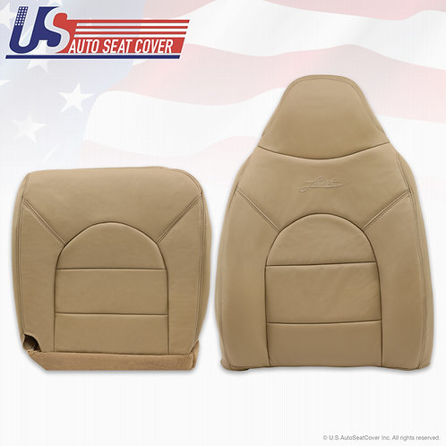 2000 Ford F250 350 Lariat Front Driver Side Top & Bottom Leather seat Covers Tan