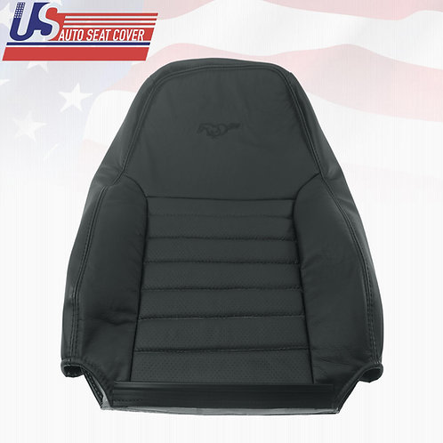 1999-2004 Ford Mustang GT Coupe Driver Lean Back Perforated Leather Cover Black