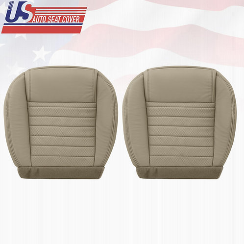 2005-2009 Ford Mustang Driver & Passenger Side Bottom Leather Seat Covers in Tan