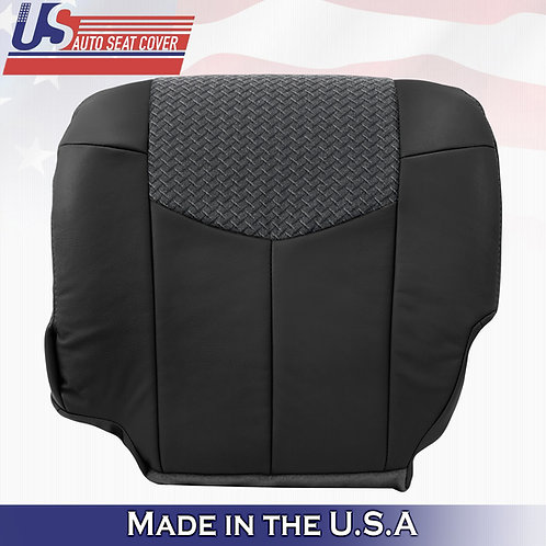 2002 Chevy Avalanche 1500 2500 DRIVER Bottom Leather w/Cloth BLACK seat cover