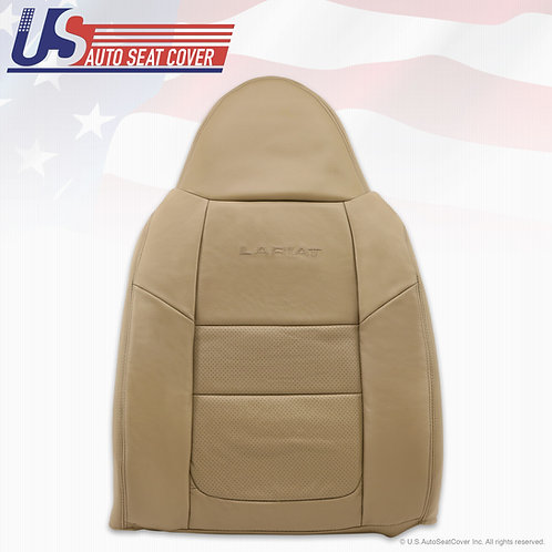 2001 Ford F250 Lariat Passenger Top Perforated Leather Seat Covers Parchment Tan