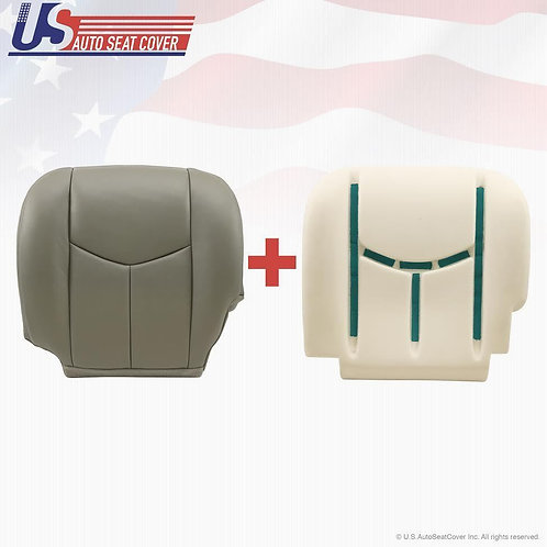 2003-2006 Chevy Tahoe Suburban Driver Bottom Leather Seat Cover & Cushion Gray C
