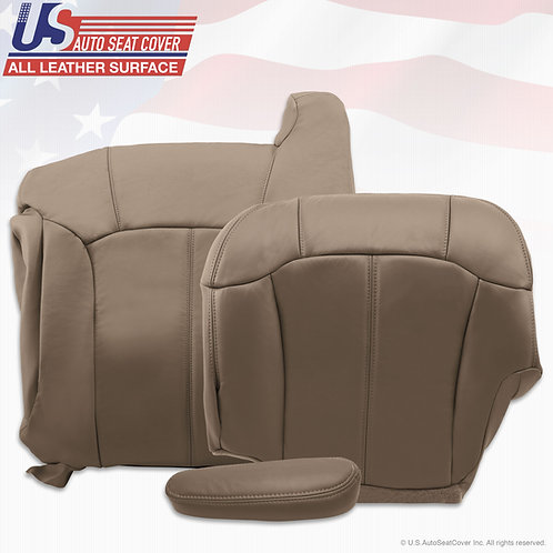 1999-2002 Chevy Sileverado Driver Top Bottom Armrest Leather seat cover Tan
