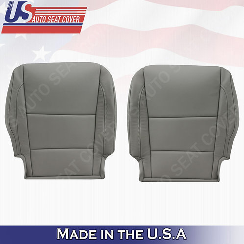 Fits 2014 - 2020 Acura MDX Driver & Passenger Bottom Leather Seat Cover Gray