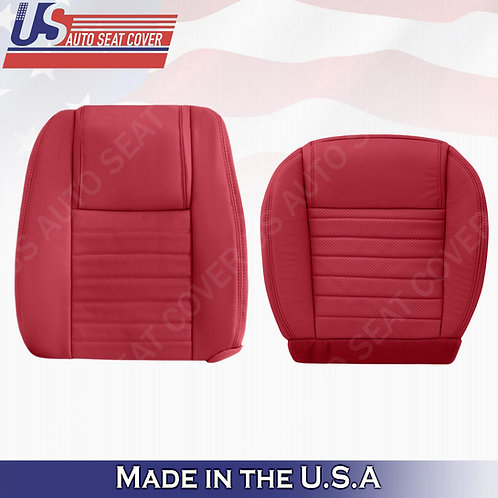 2005-09 Ford Mustang Driver Top and Bottom Leather Seat Covers Red (PERFORATED)