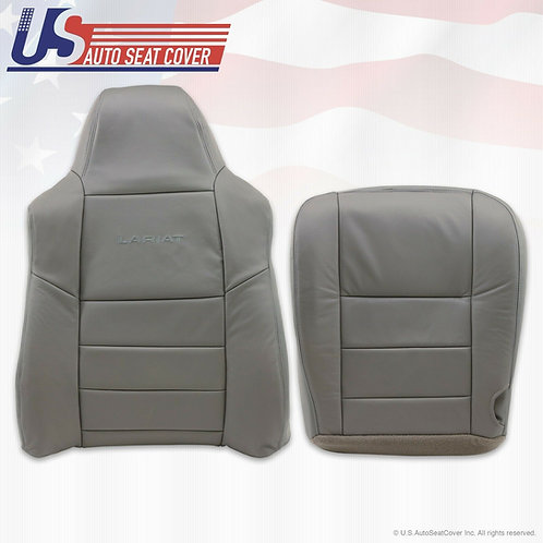 2002-2007 Ford F250 F350 Lariat Driver Top & bottom Leather Seat Cover Gray