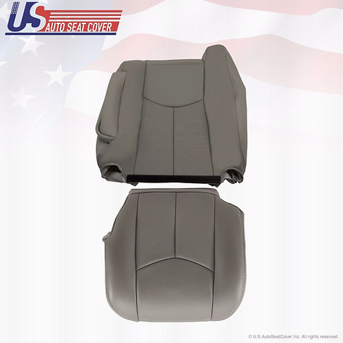 2003 2004 Cadillac Escalade Driver Bottom & Lean Back Leather Seat Covers Gray