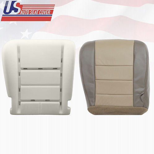 2002 to 2004 Ford Excursion 2-tone Tan Leather Driver Bottom Seat Cover + Foam