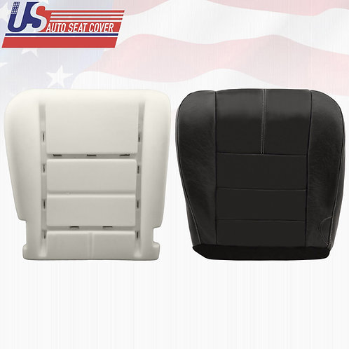 2008-2010 -Ford-F250 Driver Bottom Leather Seat Cover & Foam Seat Cushion-Black