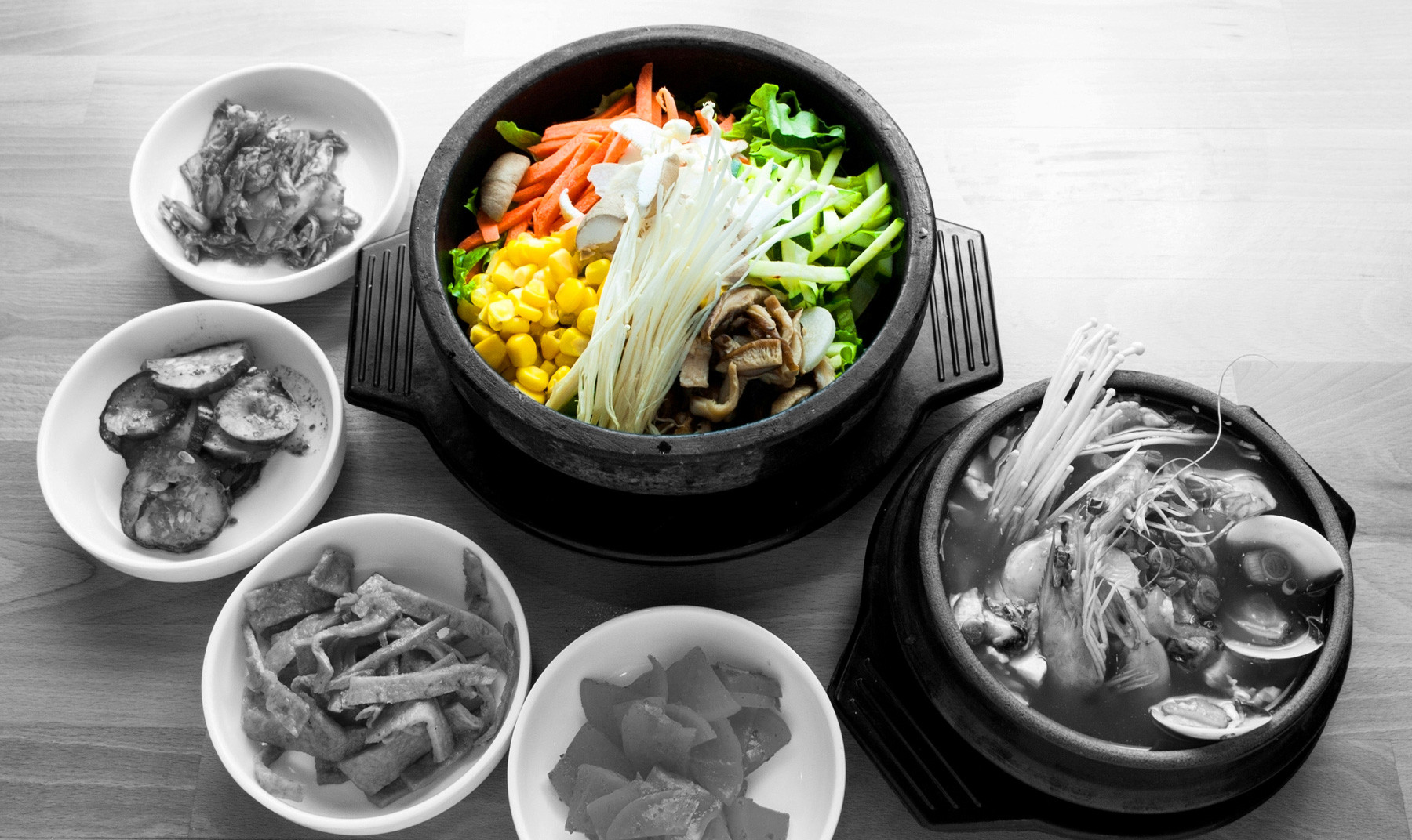 Vege hotstone & Seafood tofu