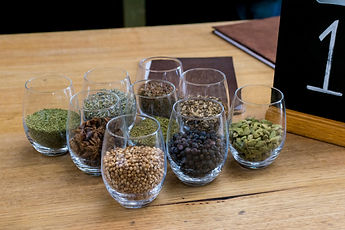 Spices displayed at 4 Gin distillery