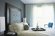 Hotel Bedroom with fabric headboard