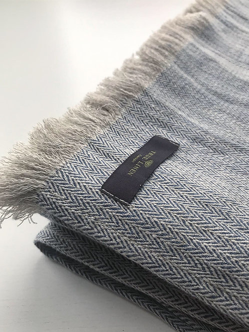 Herringbone Blue Linen Throw