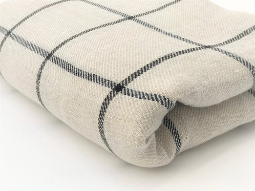Linen Check Throw by True Linen