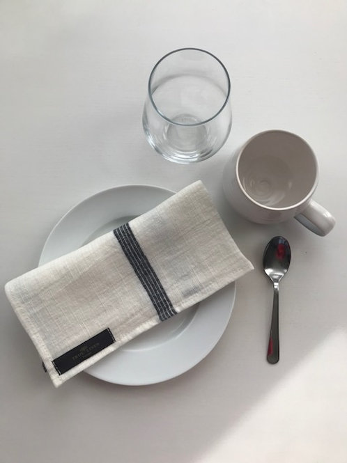 Washed Linen Napkin White with Black Stripes