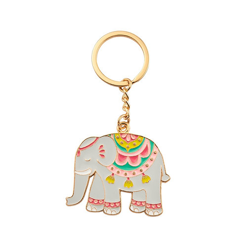 Mandala Elephant Enamel Key Ring