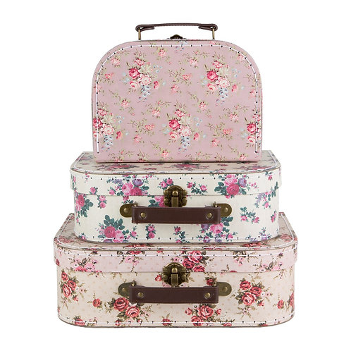 Set of 3 Vintage Rose Suitcases